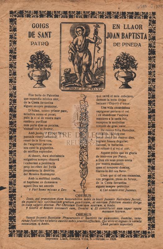 Goigs en llaor de sant Joan Baptista patró de Pineda