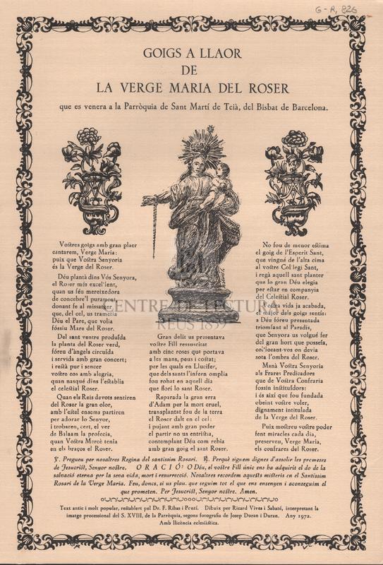 Goigs a llaor de la Verga Maria del Roser que es veneren a la Parròquia de Sant Martí de Teià, del Bisbat de Barcelona.