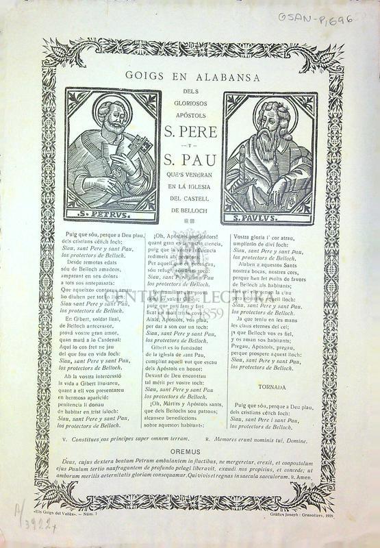 Goigs en alabansa dels gloriosos apòstols S. Pere y S. Pau que's venera en la iglesia del castell de Belloch