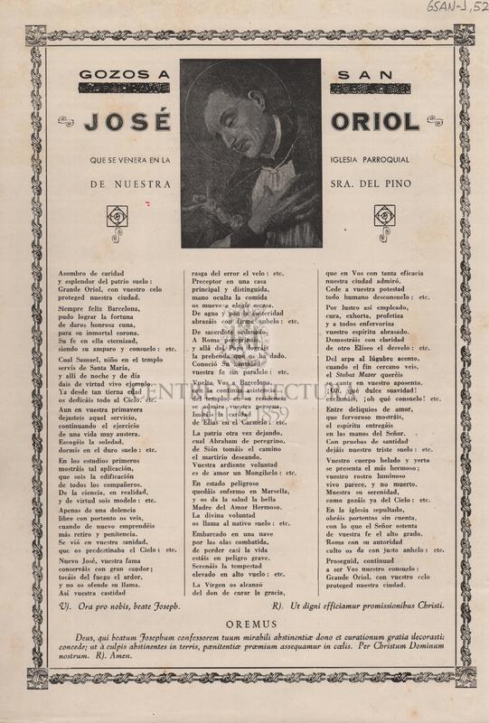 Gozos a San José Oriol que se venera en la Iglesia Parroquial de Nuestra Sra. del Pino