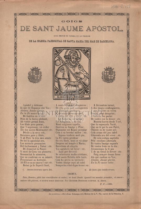 Goigs de sant Jaume apóstol, qual imatge se venera en lo trascor de la iglesia parroquial de Santa Maria del Mar de Barcelona