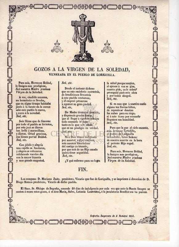 Gozos a la Virgen de la Soledad, venerada en el pueblo de Loriguilla