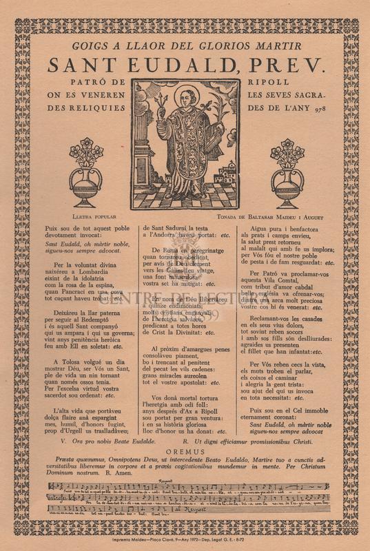 Goigs a llaor del glorios martir Sant Eudald, prev., patró de Ripoll que es veneren les seves sagrades reliquies des de l'any 978