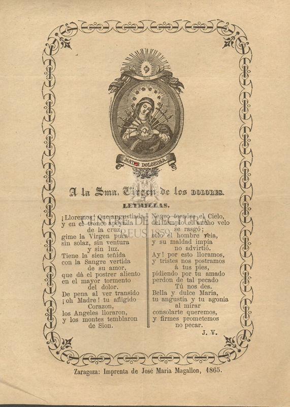 A la Santa Virgen de los Dolores, letrillas