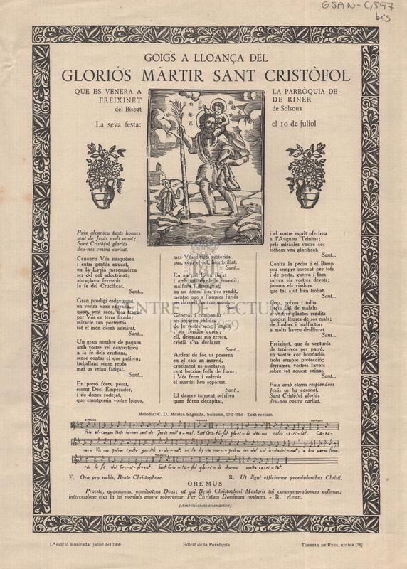 Goigs a lloança del gloriós màrtir Sant Cristòfol que es venera a la parròquia de Freixenet de Riner del Bisbat de Solsona