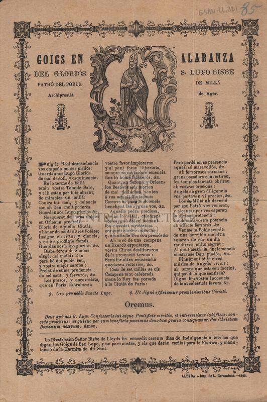 Goigs en alabanza del gloriós S. Lupo bisbe , patró del poble de Millá, Archiprestát de Ager