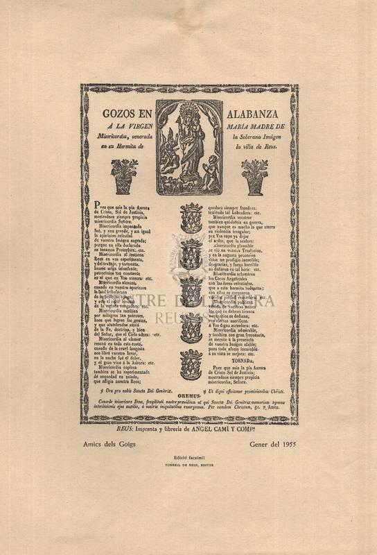Gozos en alabanza à la Virgen Maria Madre de Misericòrdia, venerada la Soberana Imágen en su Hermita de la Villa de Reus