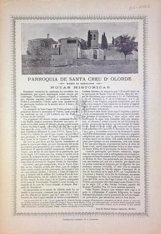 Parroquia de Santa Creu d'Olorde, Bisbat de Barcelona, notas históricas