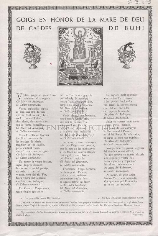 Goigs en honor de la Mare de Déu de Caldes de Bohí