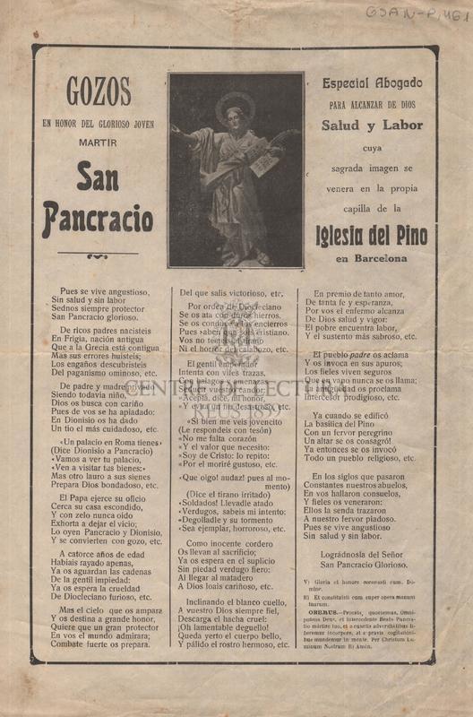 Gozos en honor del glorioso joven martir Sant Pancracio especial Abogado para alcanzar de Dios, Salud y Labor cuya sagrada imagen se venera en la propia capilla de la Iglesia del Pino en Barcelona
