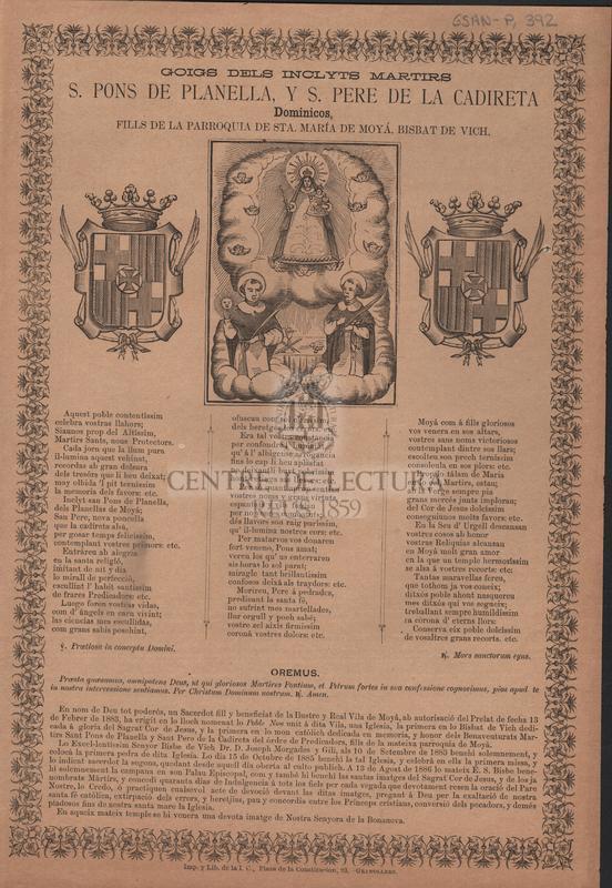 Goigs dels inclyts martirs S. Pons de Planella, y S. Pere de la Cadireta Dominicos, fills de la parroquia de Sta. María de Moyá, Bisbat de Vich
