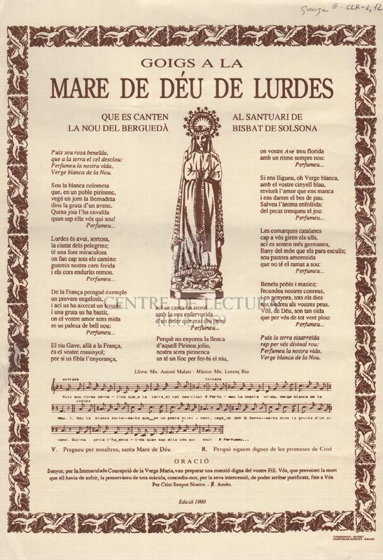 Goigs a la Mare de Déu de Lurdes que es canten al santuari de la Nou del Berguedà Bisbat de Solsona.