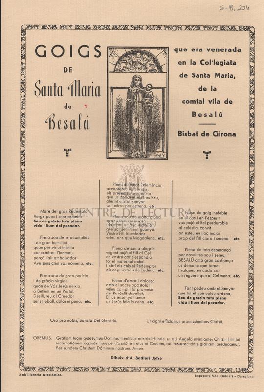Goigs de santa Maria de Besalú que era venerada en la Col·legiata de Santa Maria, de la comtal vila de Besalú - Bisbat de Girona.