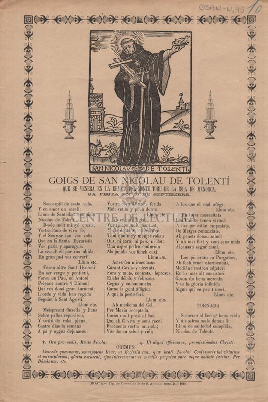 Goigs de San Nicolau de Tolenti que se venera en la Ermita del Monte Toru de la Isla de Menorca