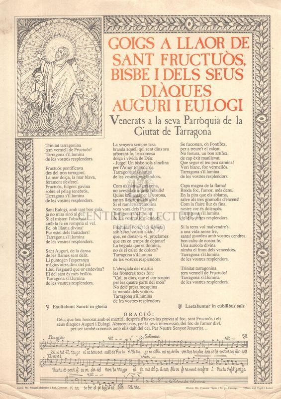 Goigs a llaor de sant Fructuòs, bisbe i dels seus diàques Auguri i Eulogi, Venerats a la seva Parròquia de la Ciutat de Tarragona