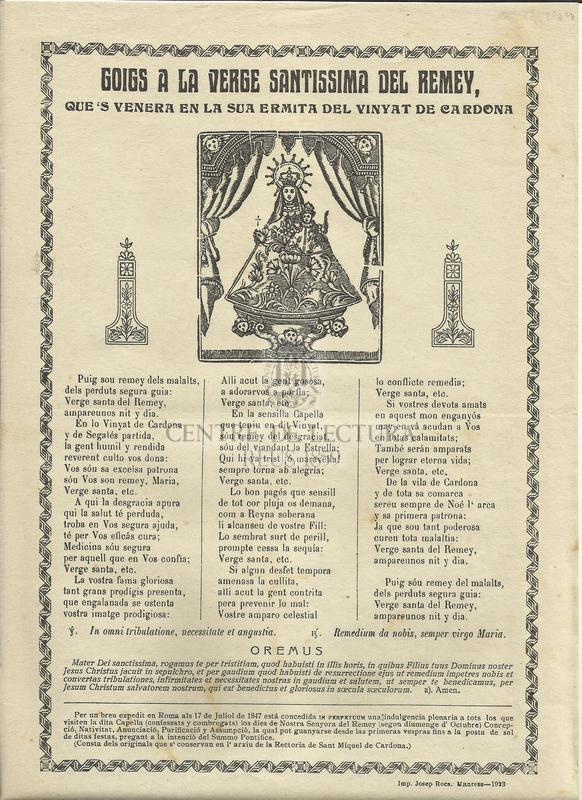 Goigs a la Verge Santissima del Remey, que's venera en la sua Ermita del Vinyat de Cardona