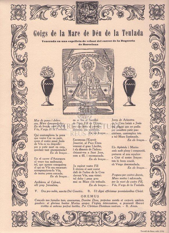 Goigs de la Mare de Déu de la Teulada venerada en una capellada de veïnat del Carrer de la Dagueria de Barcelona