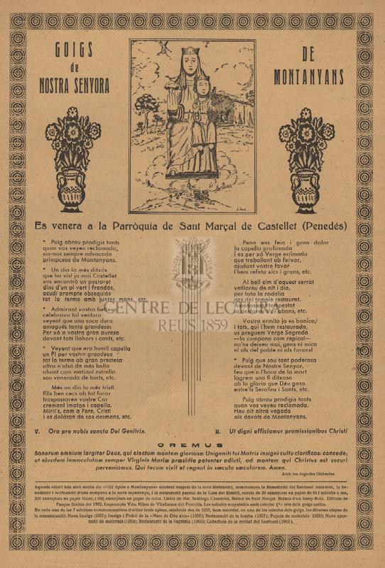 Goigs de Nostra Senyora de Montanyans. Es venera a la Parròquia de Sant Marçal de Castellet (Penedés)