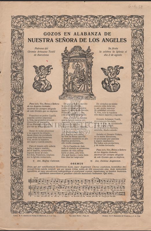 Gozos en alabanza de Nuestra Señora de los Angeles Patrona del Gremio Textil de Barcelona.