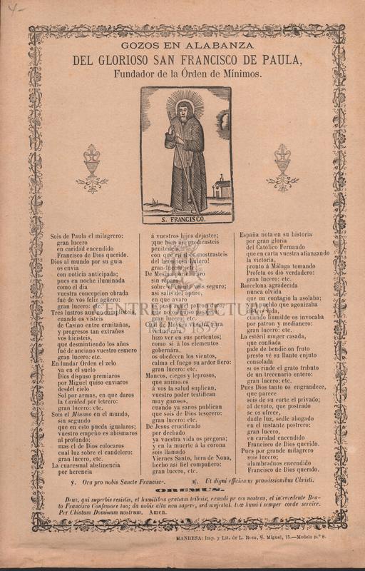 Gozos en alabanza del glorioso san Francisco de Paula, Fundador de la Órden de Mínimos