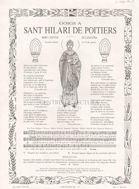 Goigs  a Sant Hilari de Poitiers, bisbe i doctor de l'Església