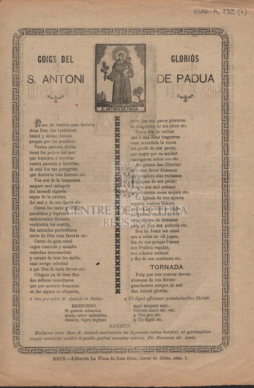 Goigs del gloriós S. Antoni de Padua