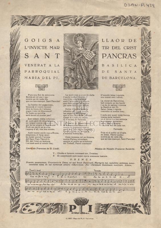 Goigs a llaor de l'invicte martir del Crist Sant Pancràs venerat a la basilica parroquial de Santa Maria del Pi, de Barcelona
