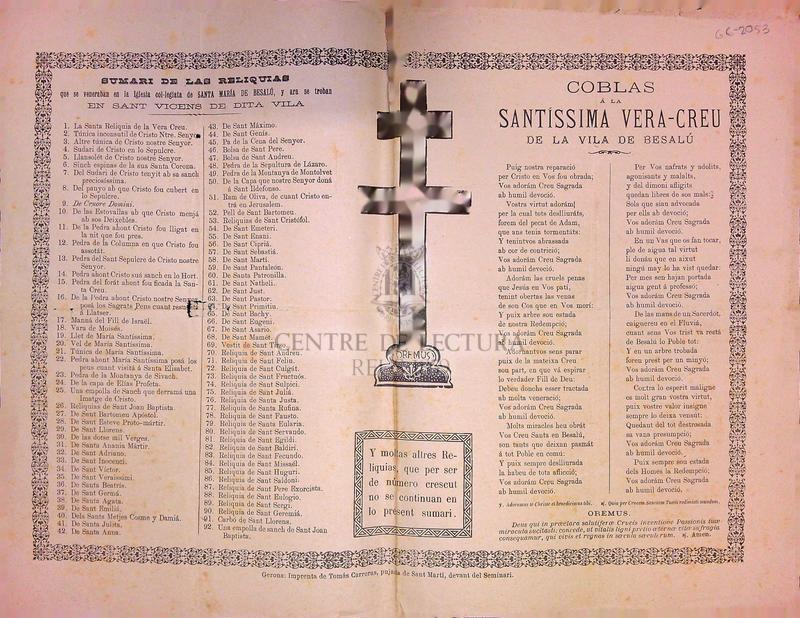 Coblas á la Santíssima Vera-Creu de la vila de Besalú