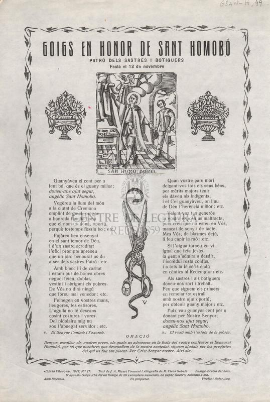 Goigs en honor de Sant Homobó. Patró dels Sastres i Botiguers. Festa el 13 de novembre