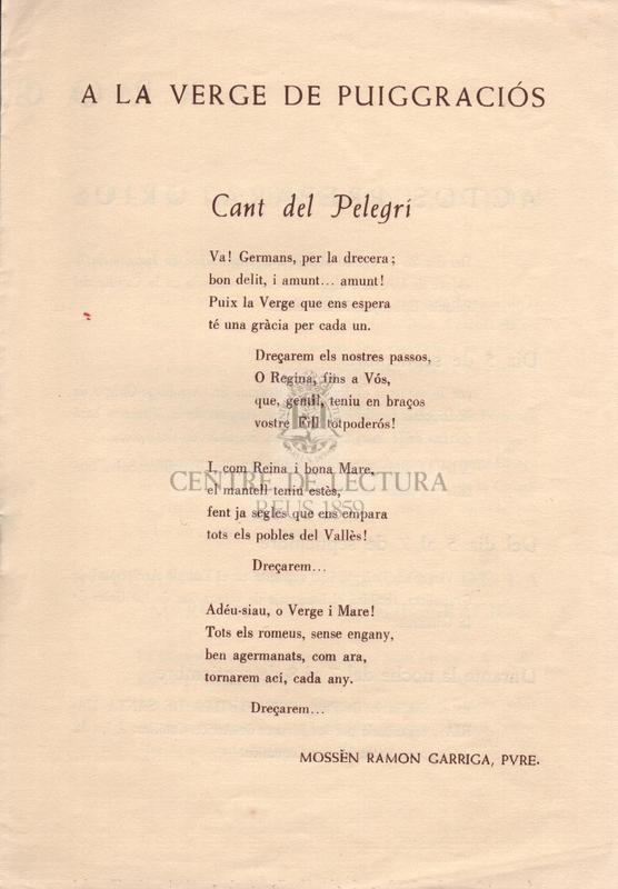 A la Verge de Puiggraciós.