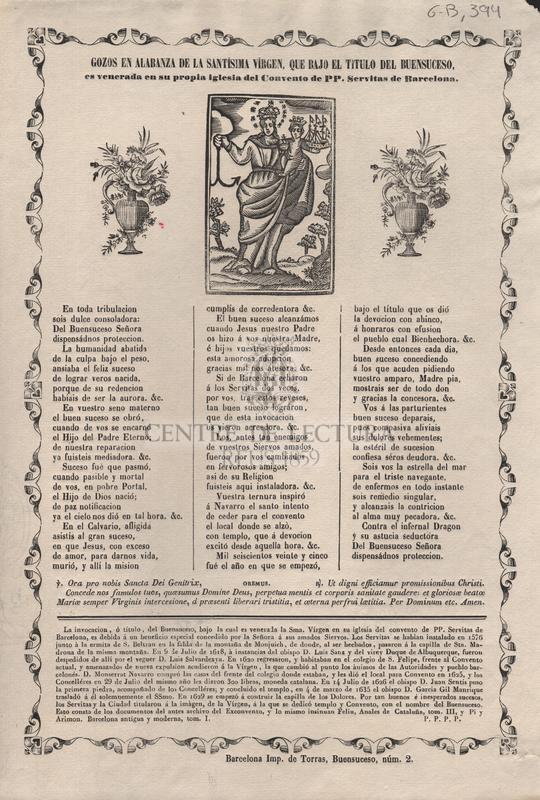 Gozos en alabanza de la Santísima Virgen, que bajo el título del Buensuceso es venerada en su propia iglesia del Convento de PP. Servitas de Barcelona