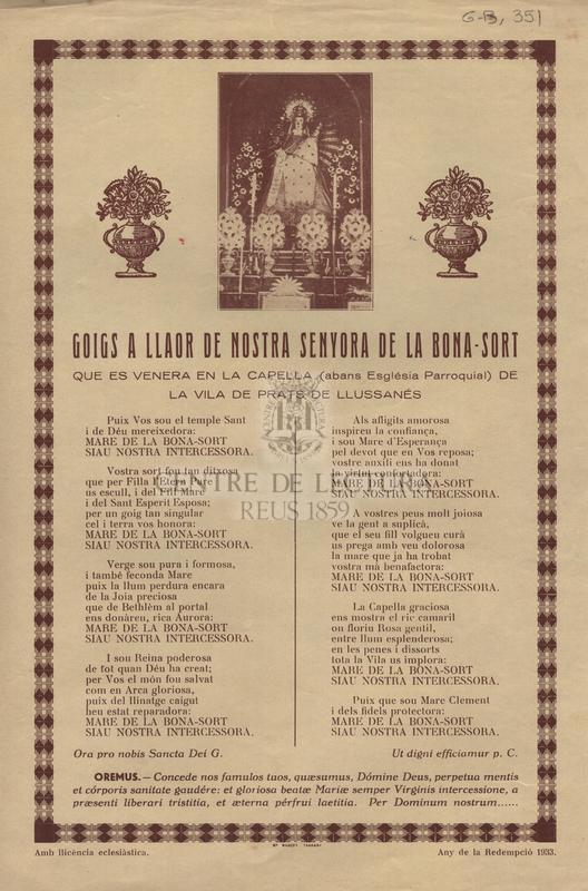 Goigs a llaor de Nostra Senyora de la Bona-Sort que es venera en la capella (abans Església Parroquial) de la vila de Prats de Llussanés