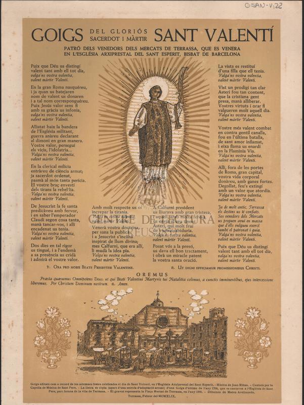 Goigs del gloriós Sant Valentí sacerdot i màrtir patró dels venedors dels mercats de Terrassa, que es venera en l'església arxiprestal del Sant Esperit, Bisbat de Barcelona