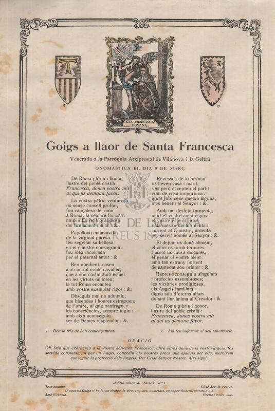 Goigs a llaor de Santa Francesca, Venerada a la Parròquia Arxiprestal de Vilanova i la Geltrú, onomàstica el dia 9 de març