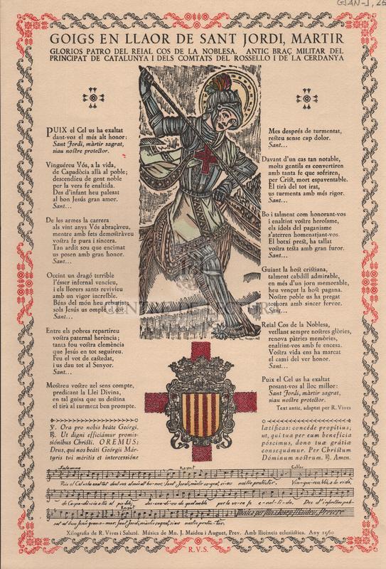 Goigs en llaor de Sant Jordi, martir glorios patro del Reial cos de la Noblesa, antic braç militar del Principat de Catalunya i dels Comtats del Rosselló i de la Cerdanya