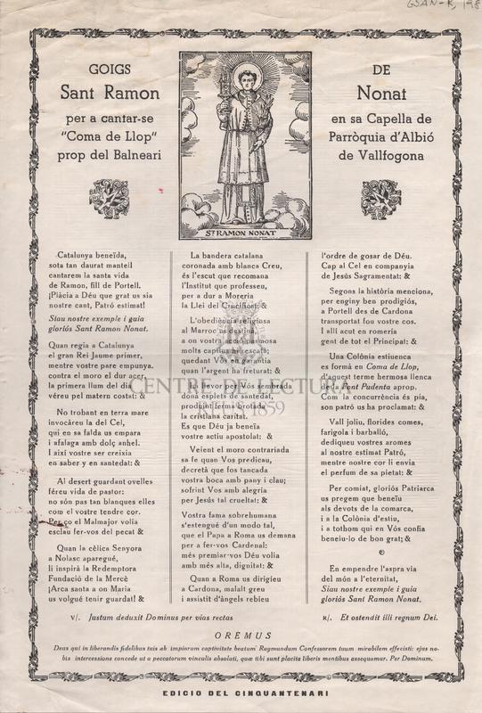 """Goigs de Sant Ramon Nonat per a cantar-se en sa Capella de """"Coma de Llop"""" Parròquia d'Albió prop del Balneari de Vallfogona"""