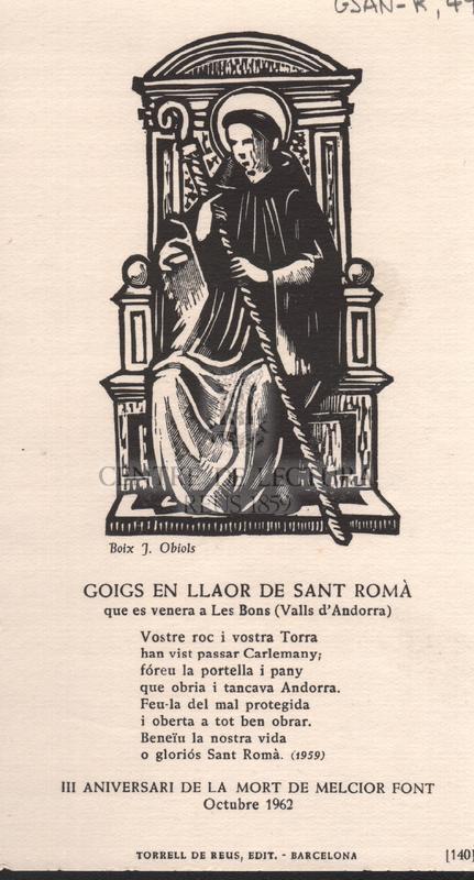 Goigs en llaor de Sant Romà que es venera a Les Bons (Valls d'Andorra)