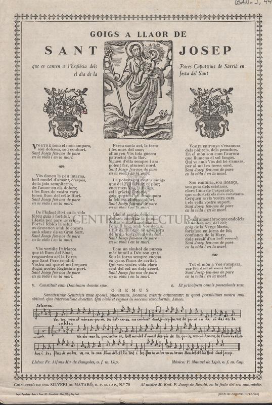Goigs a llaor de Sant Josep que es canten a l'Església dels Pares Caputxins de Sarrià en el dia de la festa del Sant