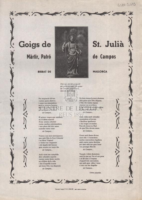 Goigs de St. Julià Màrtir, Patró de Campos, Bisbat de Mallorca
