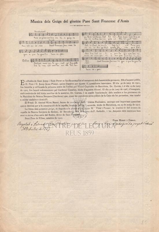 Goigs del gloriós Sant Francesc d'Assís que es canten en el redós de Sant Josep i Sant Pere, de Sant Pere de Ribes, dirigit per Germanes Darderes