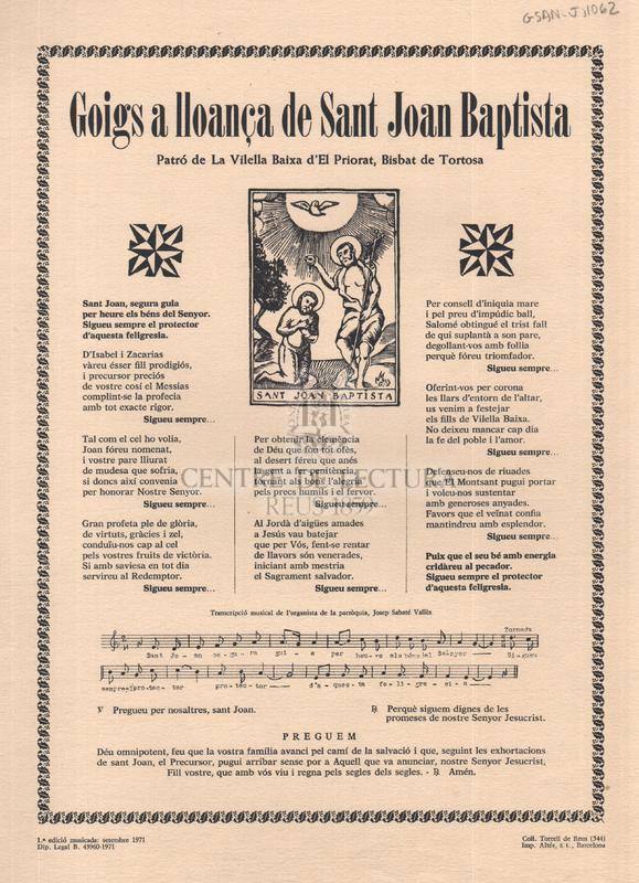 Goigs a lloança de Sant Joan Baptista, Patró de La Vilella Baixa d'El Priorat, Bisbat de Tortosa