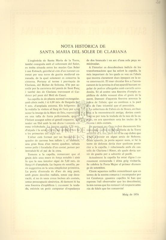 Goigs a llaor de Santa Maria del Soler de Clariana