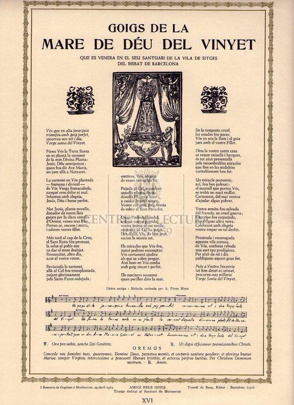 Goigs de la Mare de Déu del Vinyet que es venera en el seu Santuari de la Vila de Sitges del Bisbat de Barcelona