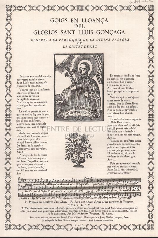 Goigs en lloança del gloriós sant Lluís Gonçaga, venerat a la Parròquia de la Divina Pastora de la ciutat de Vic