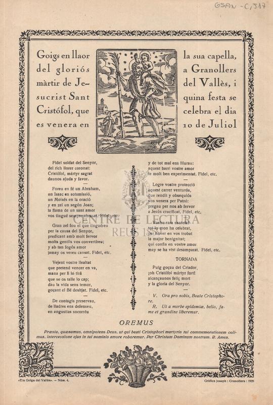 Goigs en llaor del gloriós màrtir de Jesucrist Sant Cristófol, que es venera en la sua capella a Granollers de Vallès, i quina festa se celebra el dia 10 de juliol