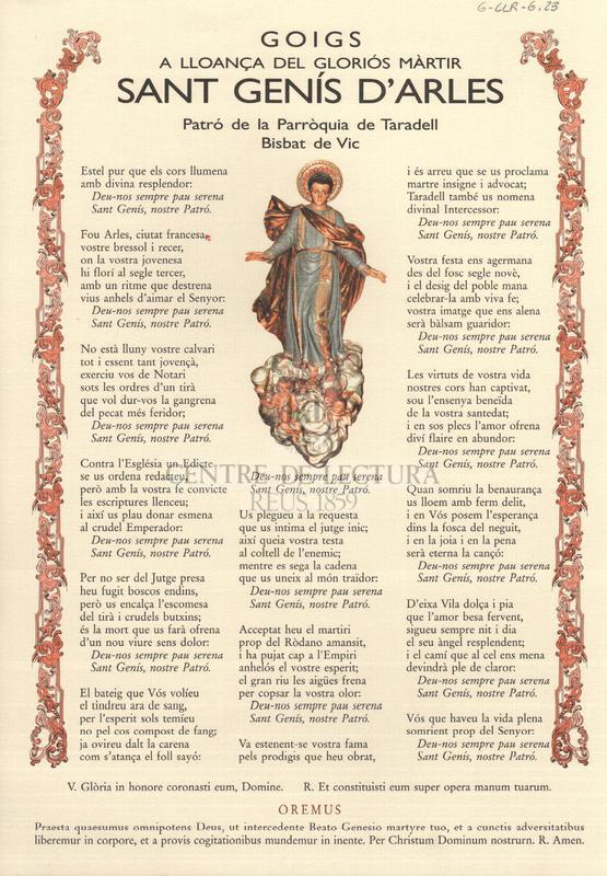 Goigs a lloança del gloriós màrtir Sant Genís d'Arles, patró de la Parròquia de Taradell, bisbat de Vic