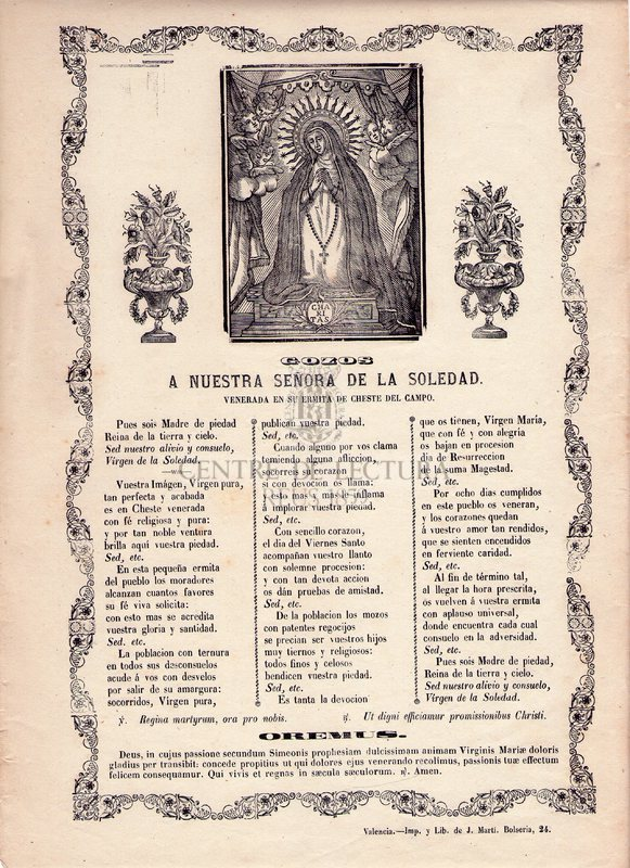 Gozos a Nuestra Señora de la Soledad, venerada en su ermita de Cheste del Camino