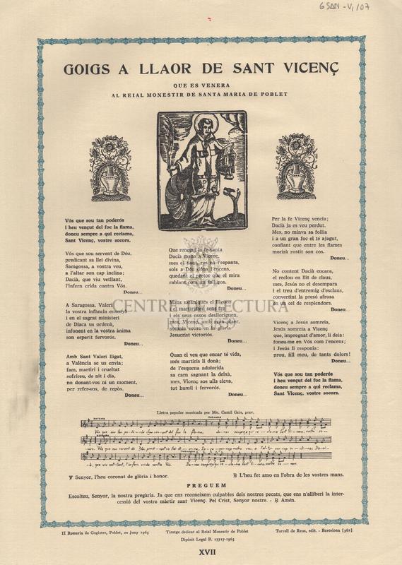 Goigs a llaor de Sant Vicenç que es venera al reial monestir de Santa Maria de Poblet.