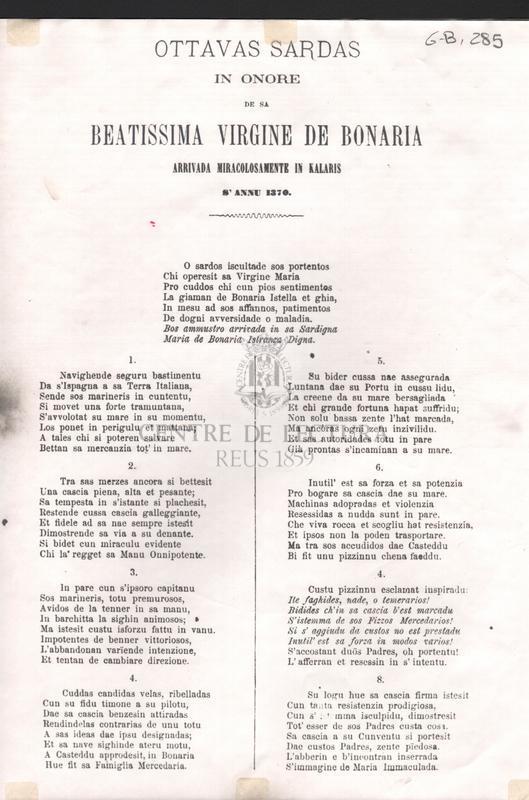 Ottavas Sardas in onore de sa Beatissima Virgine de Bonaria arrivada miracolosamente in Kalaris s'annu 1370