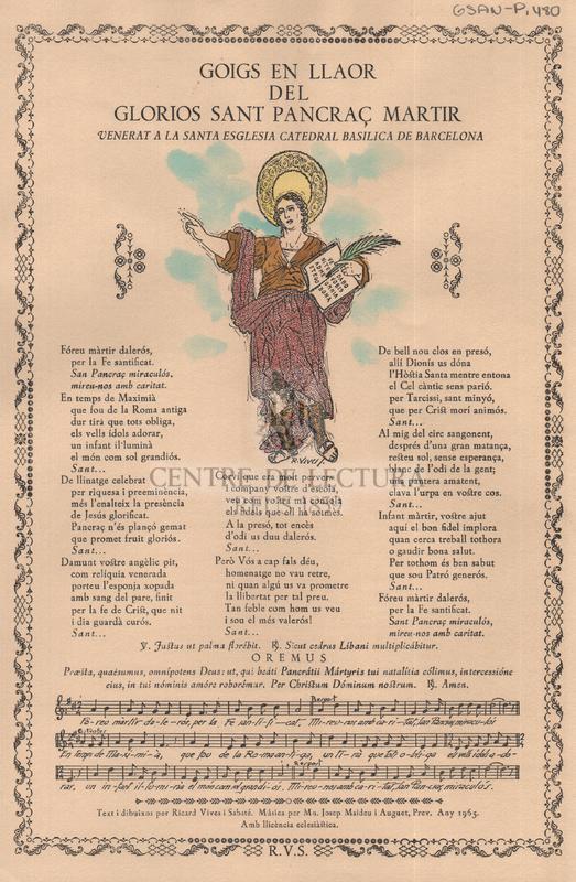 Goigs en llaor del glorios Sant Pancraç martir venerta a la Santa Esglesia Catedral Basilica de Barcelona